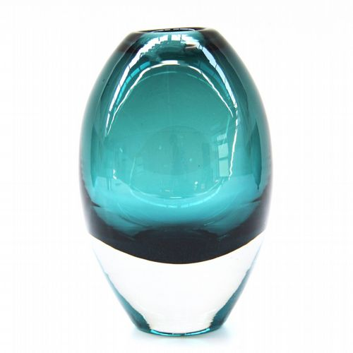 Belgian Glass Vase - Tall - Teal